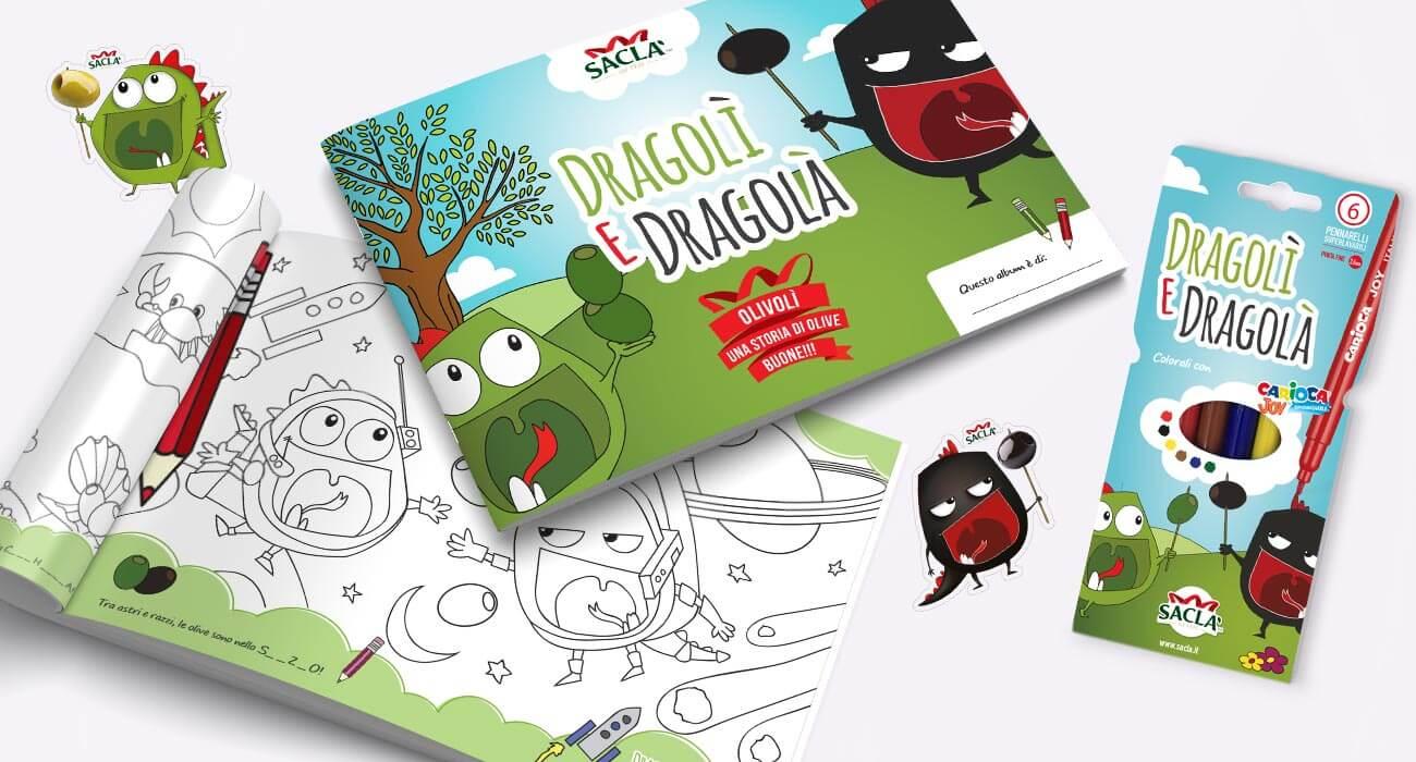 realizzazione album da colorare per bambini per sacla di dragolì e dragolà